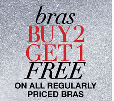 Bras Buy 2, Get 1 Free on all Regularly Priced Bras
