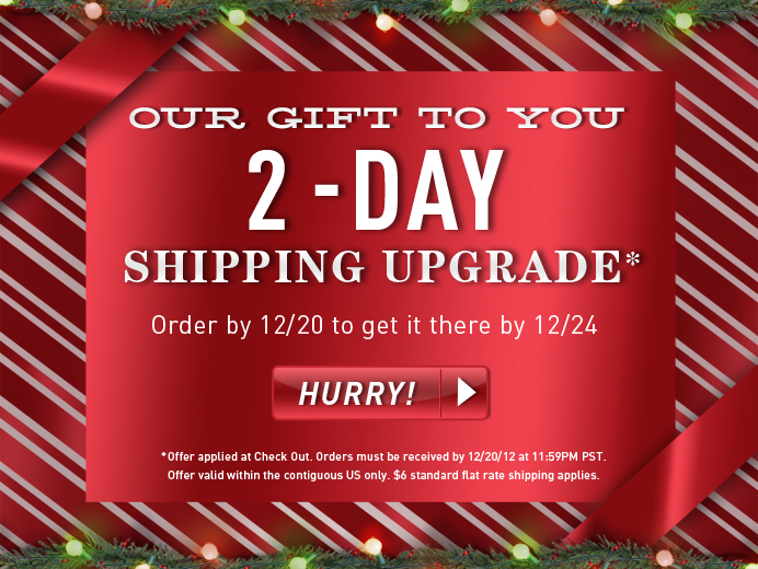 Our Gft to you. 2-Day Shipping Upgrade.