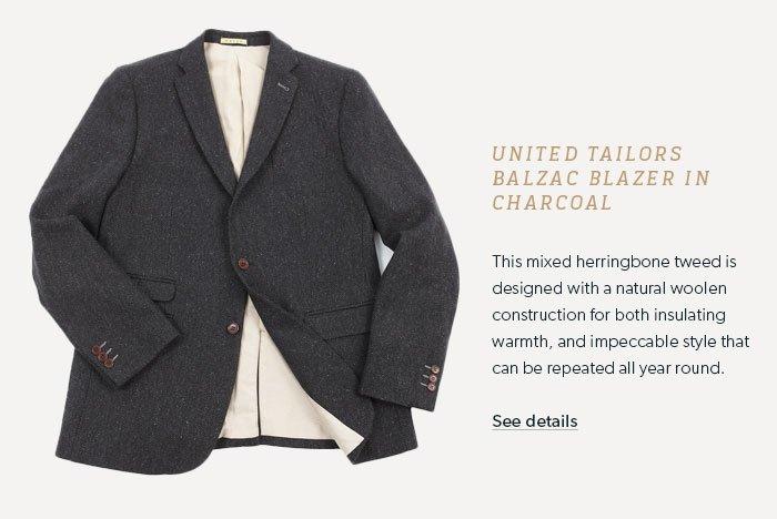 UNITED TAILORS BALZAC BLAZER IN CHARCOAL