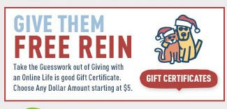 Give Them Free Rein - Buy Them A Life is good Gift Certificate