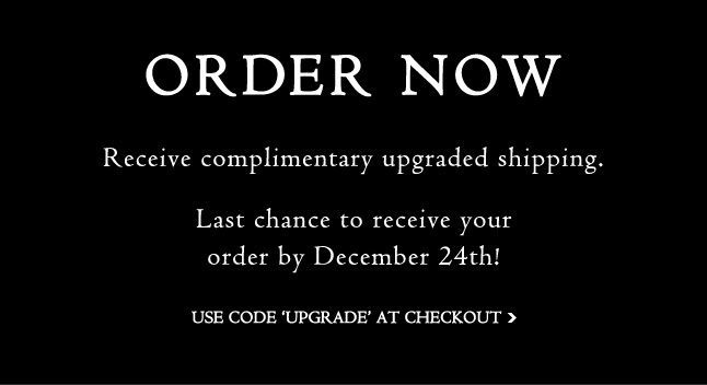 FREE upgraded shipping - last chance to receive by Dec. 24th