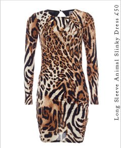 Long Sleeve Animal Slinky Dress