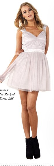 Embellished Shoulder Ruched Prom Dress