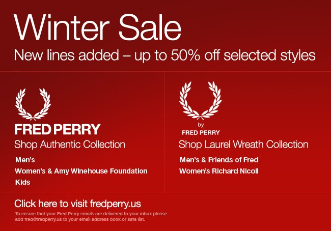 Winter Sale - new lines added, up to 50 % off