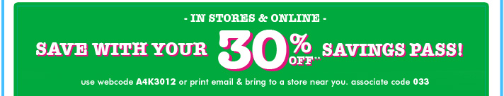 30% Off Savings Pass!
