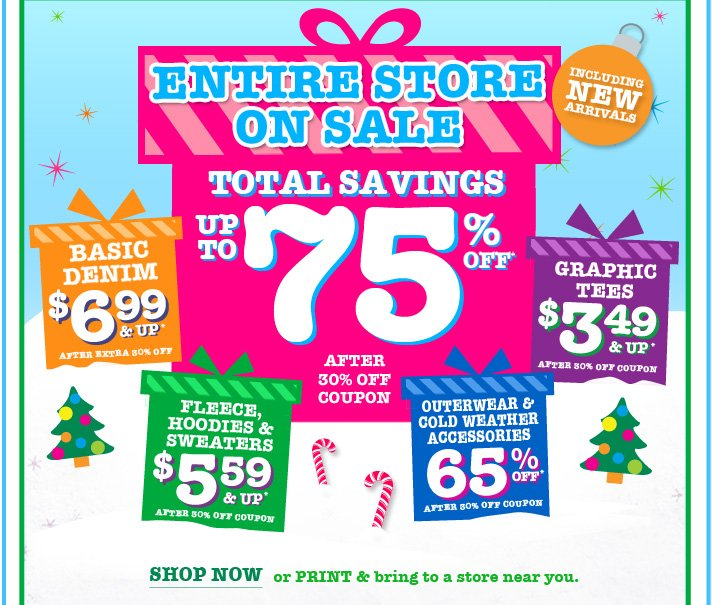 Entire Store On Sale! Total Savings Up To 75% Off!