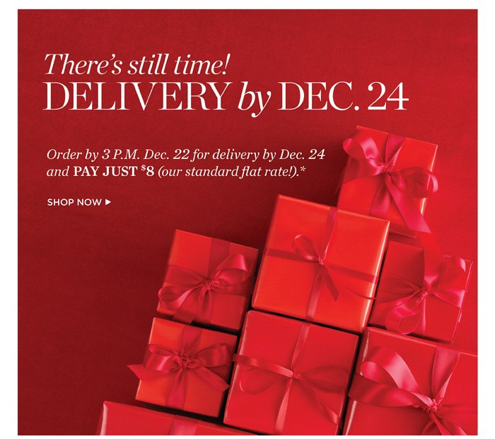 There's still Time! Delivery by Dec. 24. Order by 3 P.M. Dec. 22 for Delivery By Dec. 24 and Pay JUST $8(our standard flat rate!). Shop Now.