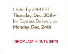 Make sure it gets there on time...  Order by 2PM EST Thursday Dec. 20th** for Express Delivery by Monday, Dec. 24.  SHOP LAST MINUTE GIFTS
