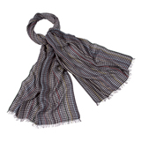 Paul Smith Scarves - Grey Signature Stripe Check Scarf