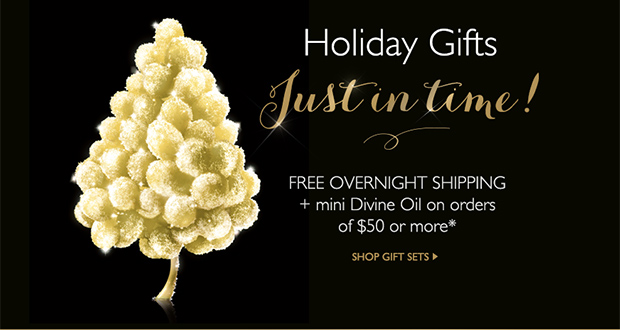 Holiday Gifts Just in time! Get Free 2nd Day Shipping + Mini Divine Oil on order of $50 or more* -- SHOP GIFT SETS