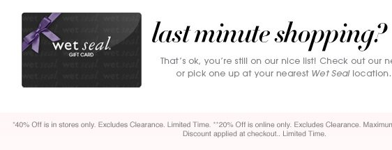 Last Minute? Shop E-Gift Cards