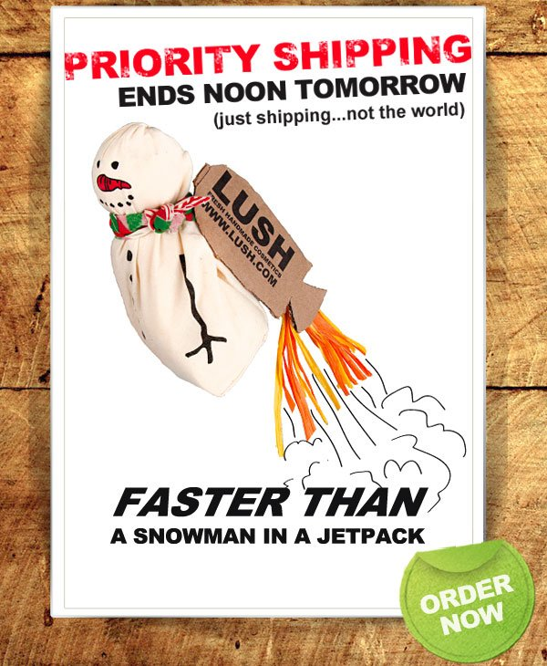 Priority Shipping ends tomorrow (just shipping, not the world)! Faster than a Snowman in a jetpack. Order now!