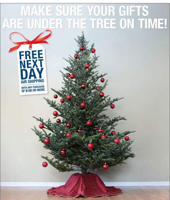 Make Sure you gifts are under the tree on time.  Free next day air shipping with any purchase of $100 or more.