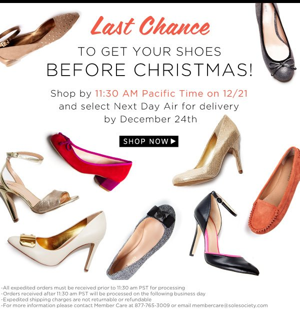 Last chance to get your shoes before Christmas!