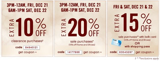Extra 10% off clearance purchases. Extra 20% off sale purchases. Extra 15% off sale purchases. Get coupon.