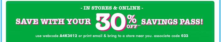 30% Off Savings Pass!