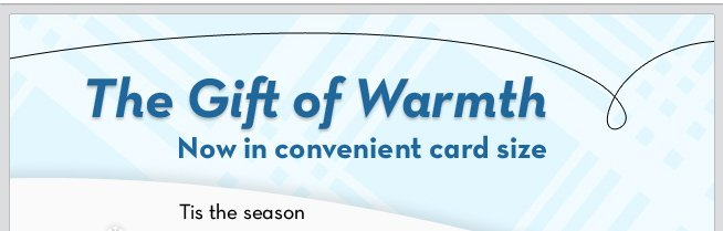 The Gift of Warmth - Now in convenient card size