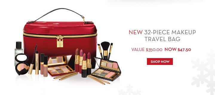 NEW 32-PIECE MAKEUP TRAVEL BAG. VALUE $350.00 NOW $47.50. SHOP NOW.