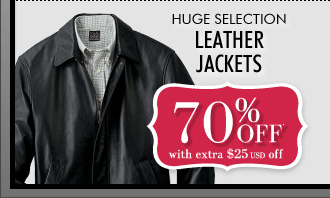 70% OFF* with extra $25 USD Off Leather Jackets