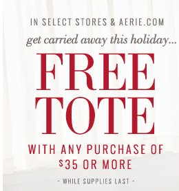 In Select Stores & Aerie.com | get carried away this holiday... Free Tote With Any Purchase Of $35 Or More | While Supplies Last