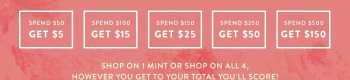 Spend $50 Get $5 - Spend $100 Get $15 - Spend $150 Get $25 - Spend $250 Get $50 - Spend $500 Get $150