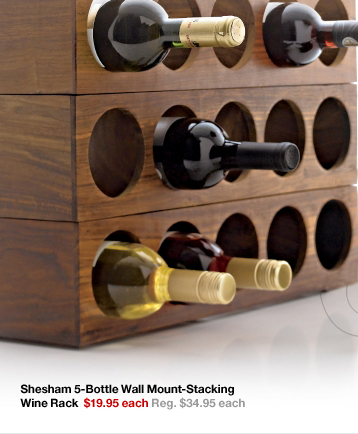 Shesham 5-Bottle Wall Mount-Stacking Wine Rack $19.95  each Reg. $34.95 each
