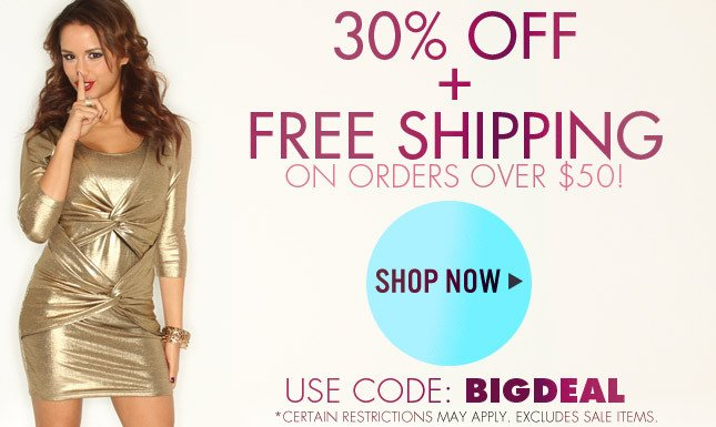 30% off and free shipping on orders over $50