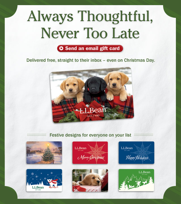 Always Thoughtful, Never Too Late. Send an email gift card. Delivered free, straight to their inbox — even on Christmas Day. Festive designs for everyone on your list.