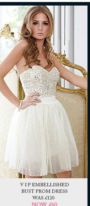 V I P Embellished Bust Prom Dress