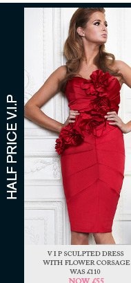V I P Sculpted Dress With Flower Corsage