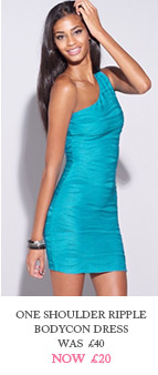 One Shoulder Ripple Bodycon Dress