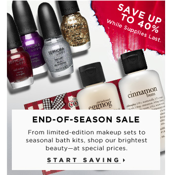 End-Of-Season Sale. From limited-edition makeup sets to seasonal bath kits, shop our brightest beauty - at special prices. Online only. While Supplies Last. Start Saving. Save up to 40%