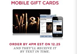 Mobile Gift Cards | Order By 4PM EST On 12.25 And They'll Receive It Via Email In Time.