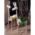 Whitewash Wooden Deer Planter