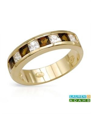 LAUREN G. ADAMS Ring Designed In Yellow Gold Plated Silver