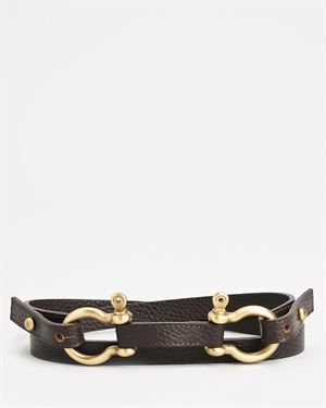Brand New Burberry Genuine Leather Double Loop Belt - Made In Italy