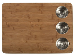 I stumbled across this butcher block and I think it's genius—butcher block + prep bowls in one.
