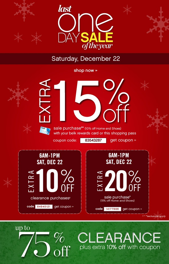 Last One Day Sale of the Year. Saturday, December 22. Extra 15% off. Get coupon.