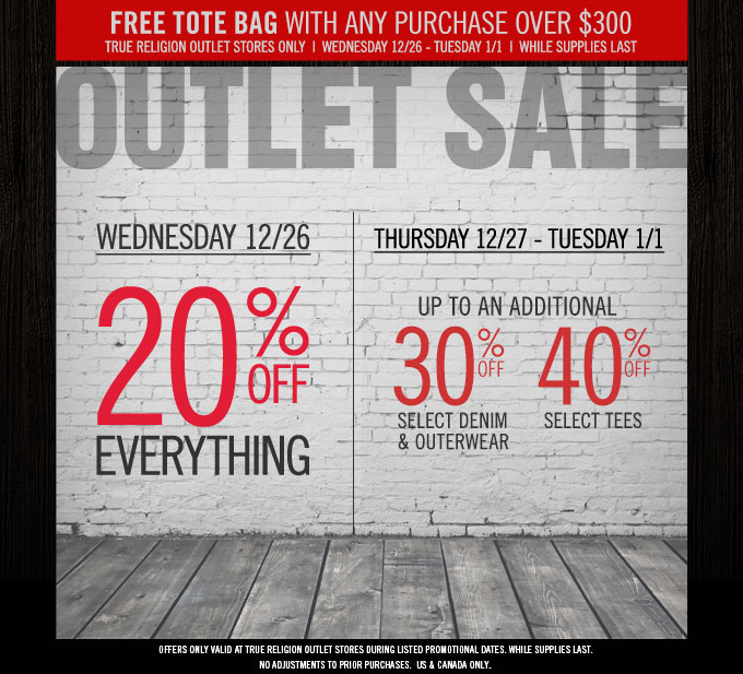 Outlet Sale Starts Wednesday: 20% Off Everything + Up To And Additional 40% Off Select Styles