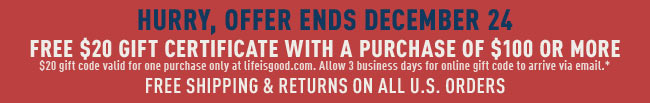 Spend $100 Get $20 Off Your Next Order
