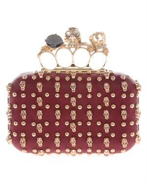 Elysa Skull And Studs Embellished Clutch With Ring Handle