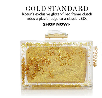 GOLD STANDARD Kotur's exclusive glitter-filled frame clutch adds a playful edge to a classic LBD. SHOP NOW