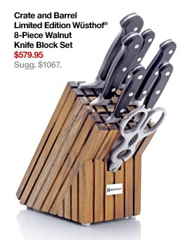 Crate and Barrel Limited Edition  Wüsthof® 8-Piece Walnut Knife Block Set