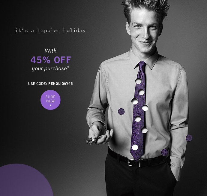 Happier Holidays with 45% Off Your Purchase + Free Shipping