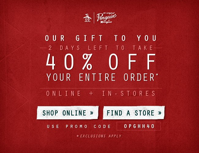 Our gift to you: 40% off your entire order online + in-store
