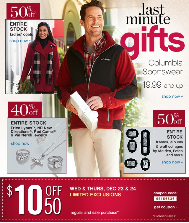 Last Minute Gifts. Columbia Sportswear 19.99 and up. Shop now.