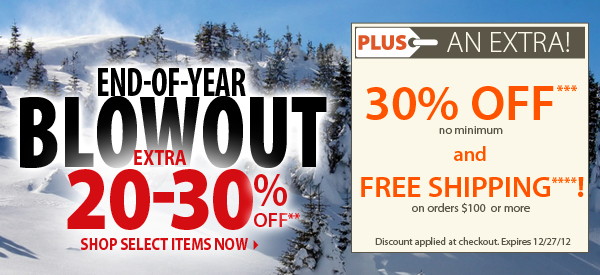 End-of-Year Blowout! An Extra 20-30% OFF! PLUS An Extra 30% OFF & FREE Shipping on orders $100+!
