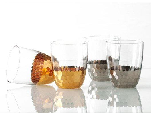 Glass and metal collide to create this stunning glassware.
