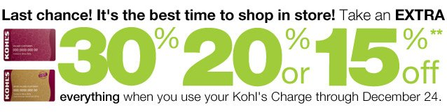 LAST CHANCE! It's the best time to shop in store! Take an EXTRA 30%, 20% or 15% Off everything  when you use your Kohl's Charge through December 24.