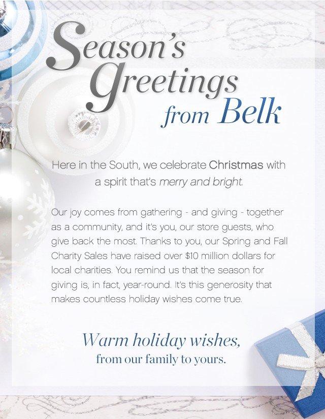 Seasons Greetings from Belk.